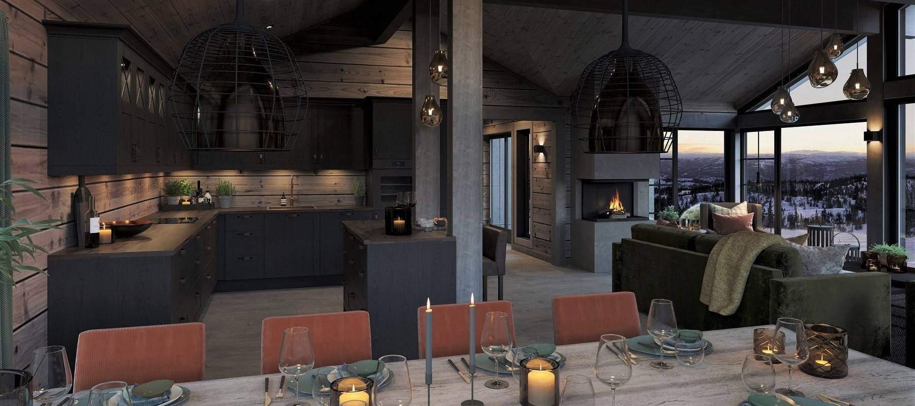 20 Geilo Hytteinspirasjon – Interiør kjøkken og spisestue Tiurtoppen Hytter