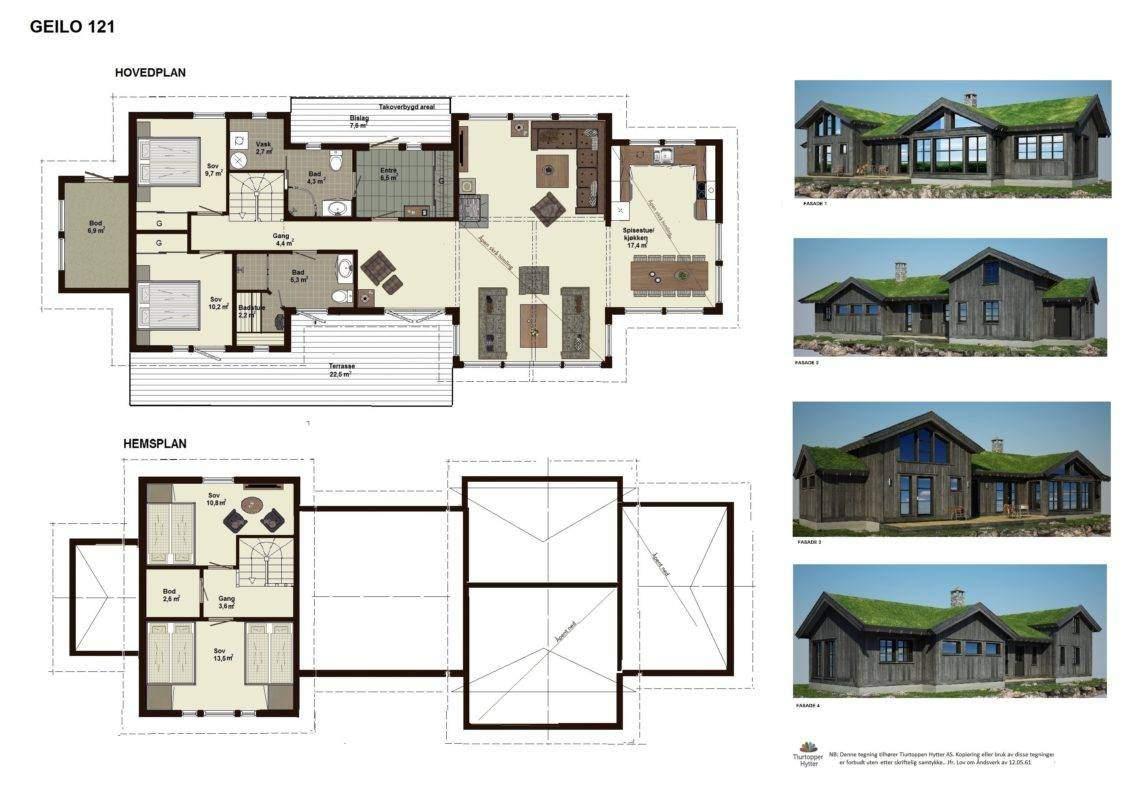 01 Geilo 121- Plan og fasader