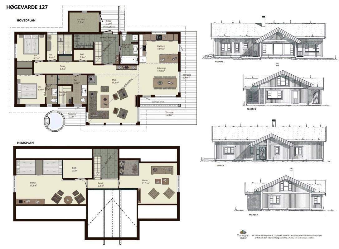 10 Høgevarde 127 – Plan og fasader