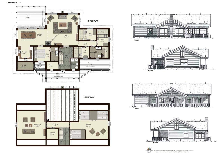 10 Hytte Hemsedal 120 plan og fasader