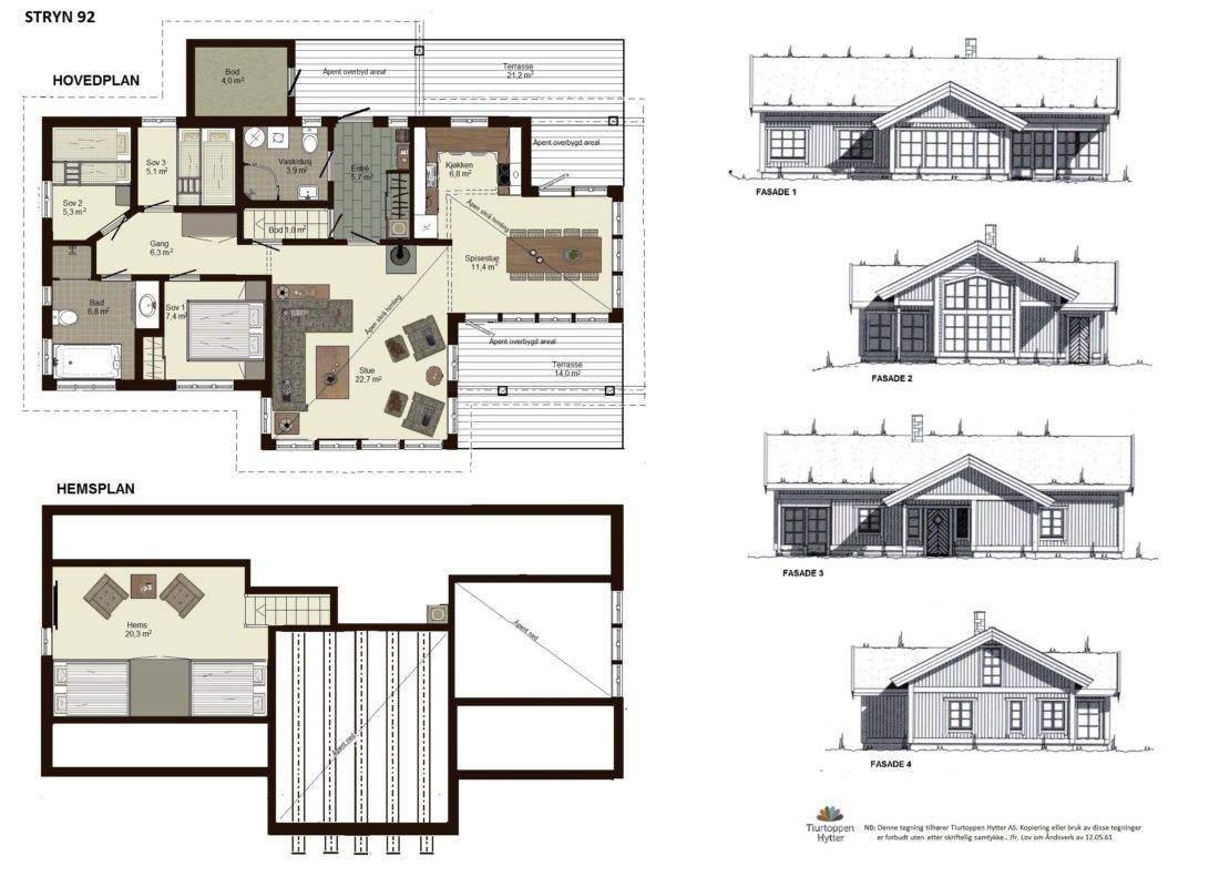 10 Hyttemodell Stryn 92. Plan og fasader
