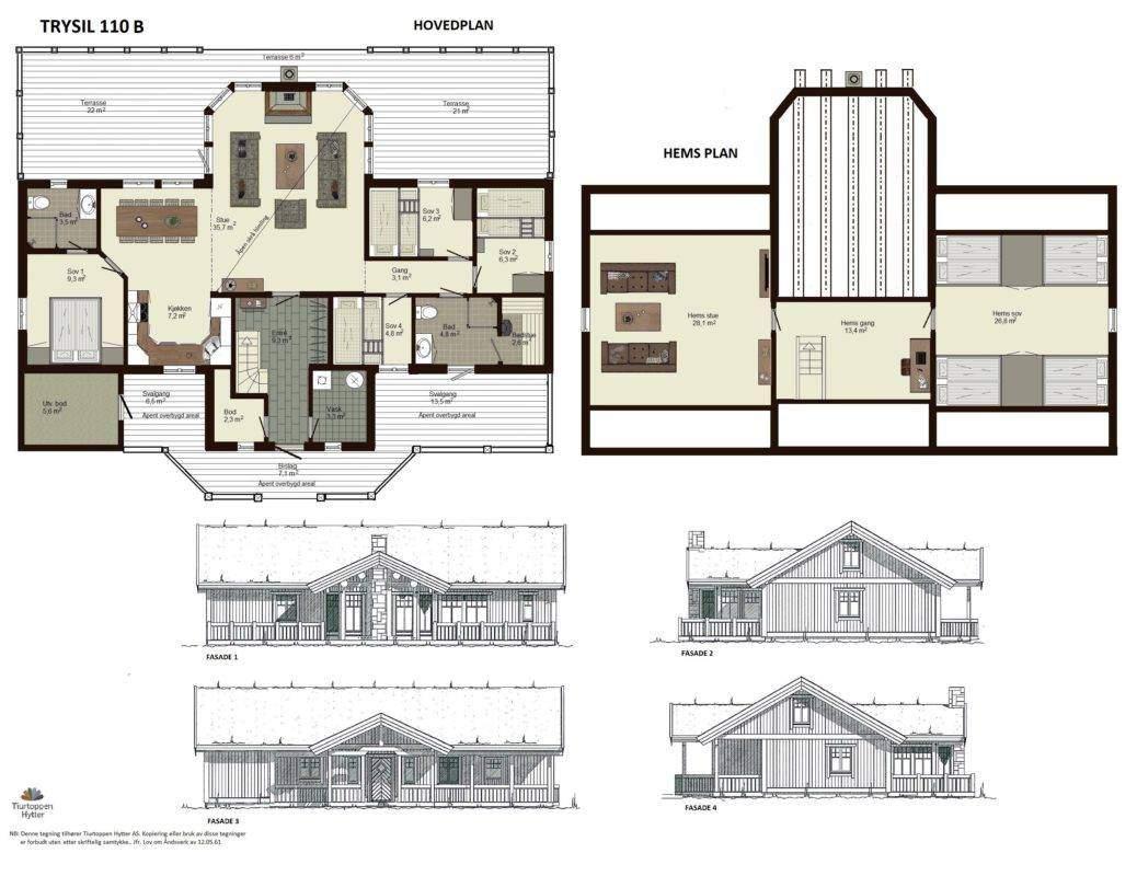 10 Trysil 110 B – Plan og fasader
