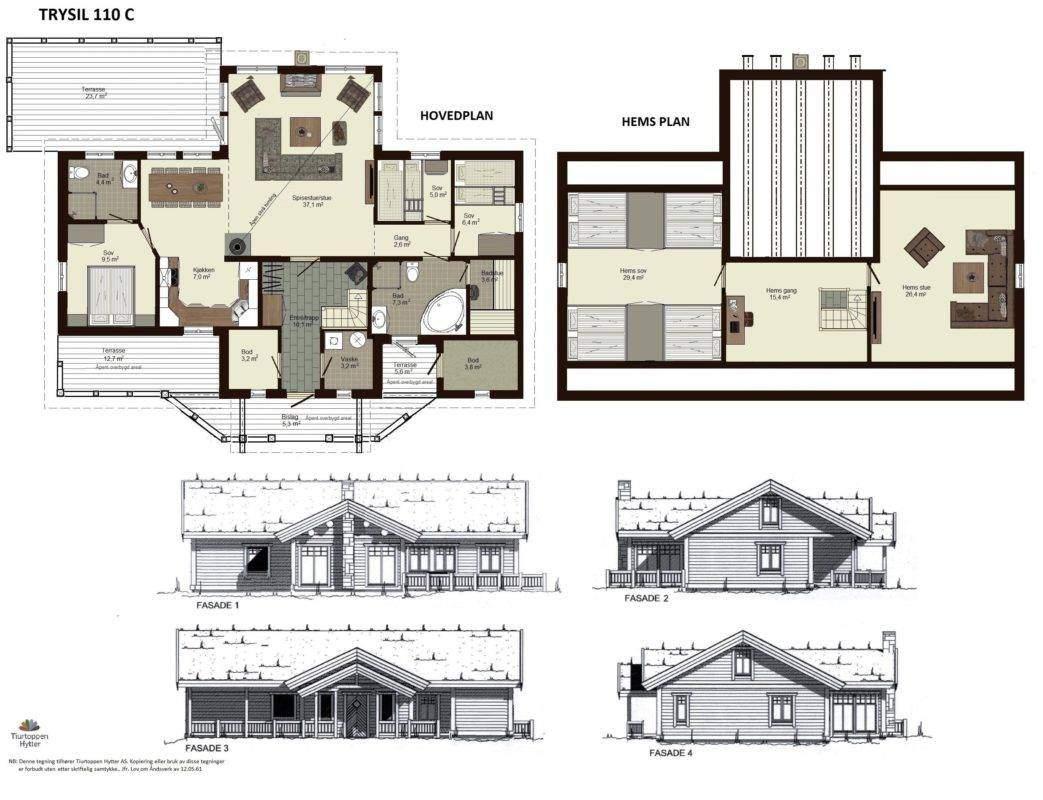 10 Trysil 110 C1 – Plan og fasader