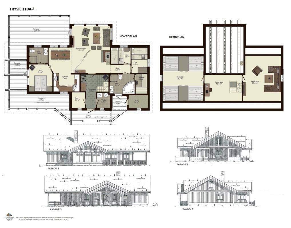 10 Trysil 110A-alt1 – Plan og fasader