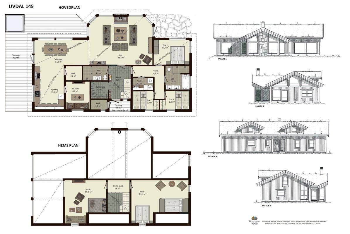 10 Uvdal 145 – Plan og fasader