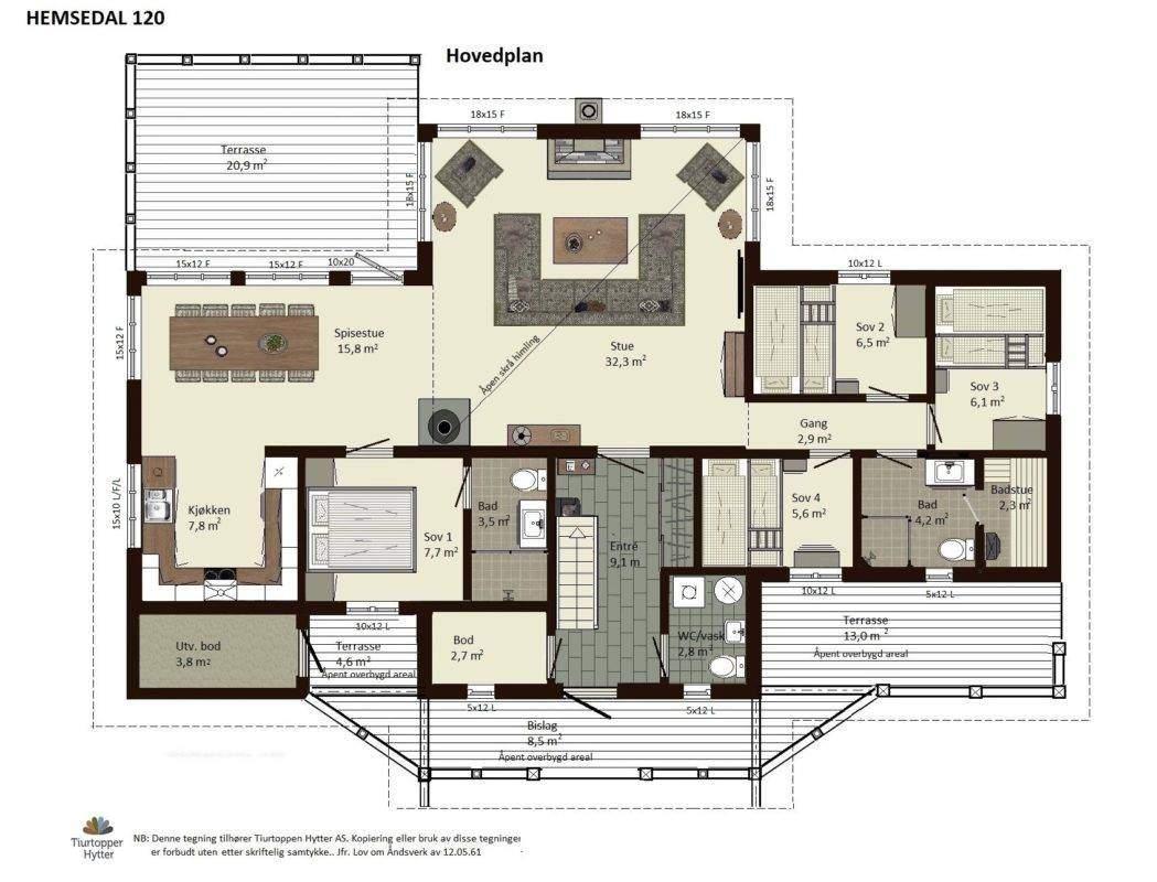 11 Hytte Hemsedal 120 Hovedplan