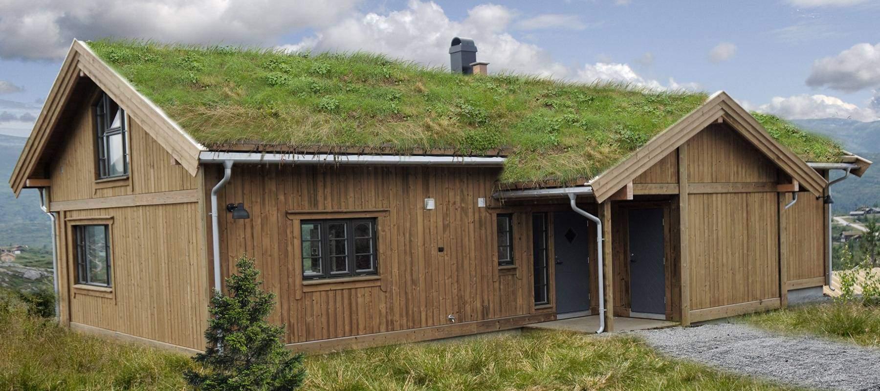 18 Hyttemodell Høgevarde 127. Overbygd inngangsparti med utvendig bod.