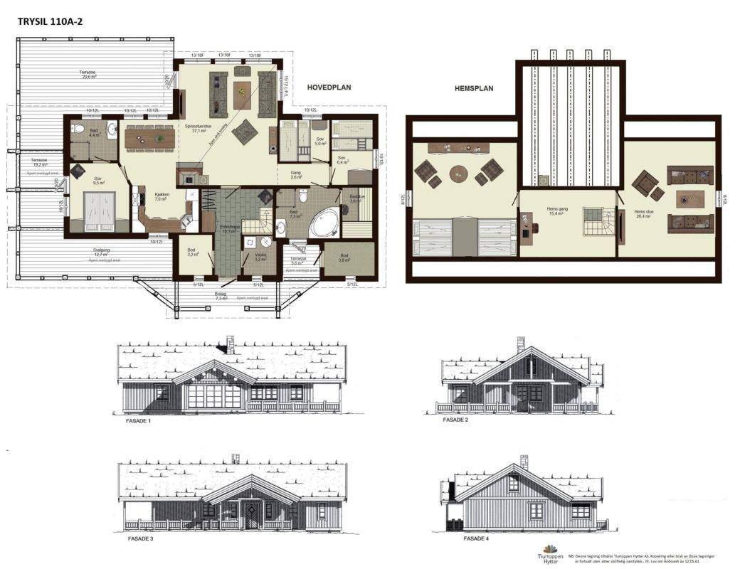 20 Trysil 110A-alt2 – Plan og fasader