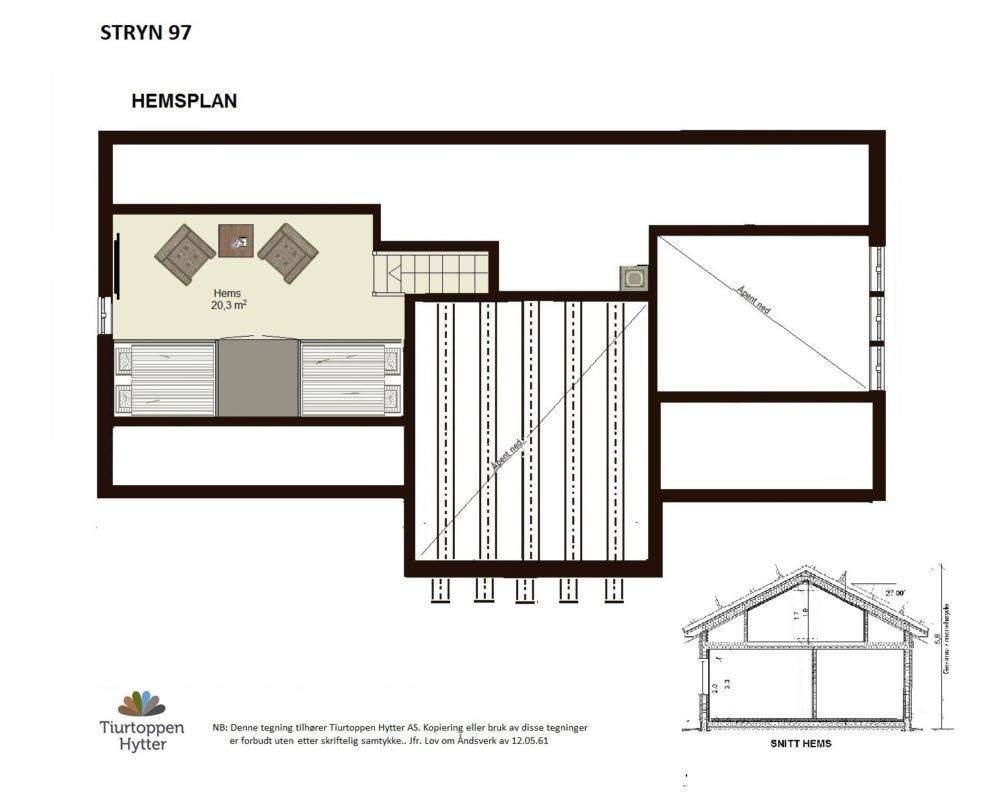 22 Hyttemodell Stryn 92. Hems plan og snitt