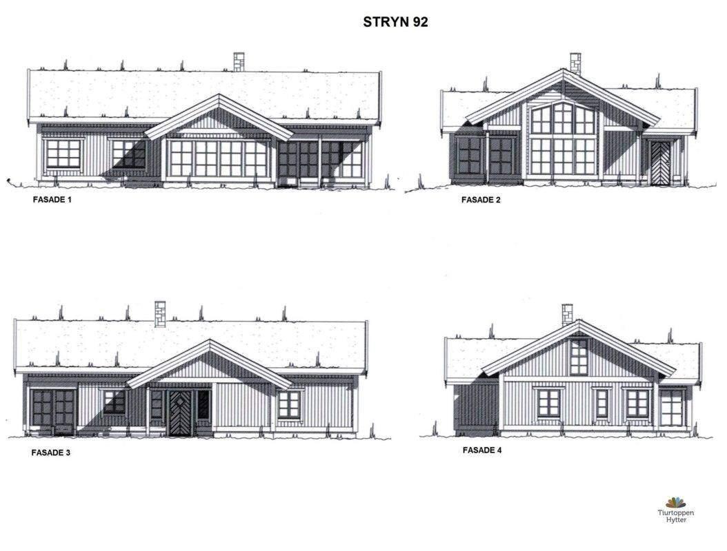 23 Hyttemodell Stryn 92. Fasader