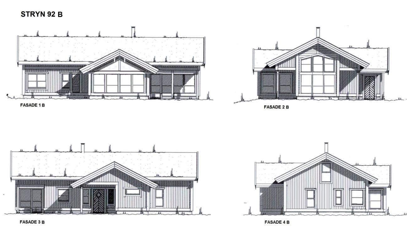24 Hyttemodell Stryn 92. Fasade med moderne vinduer
