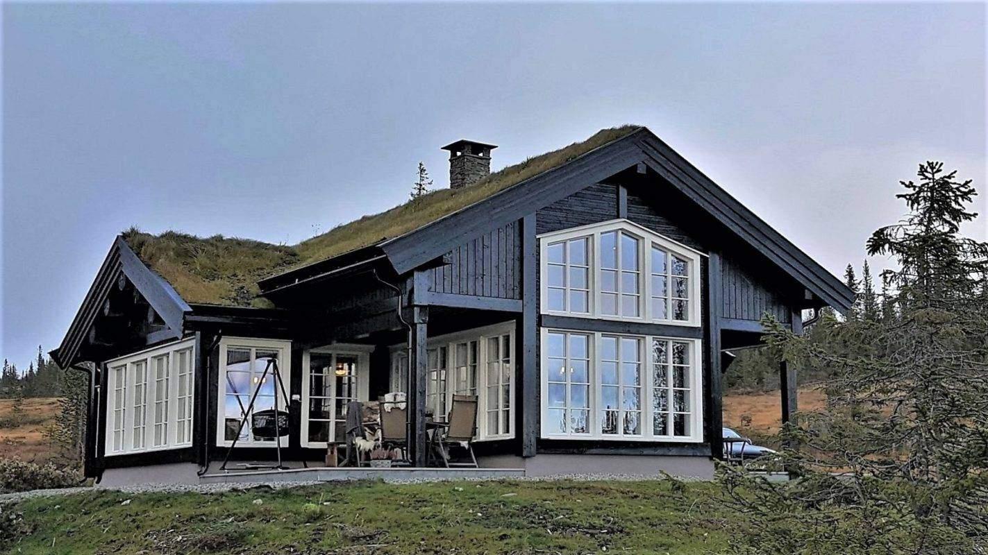 249 Hyttemodell Hytte Stryn 92 Veggli. Delvis overbygd terrasse på utsiktsiden