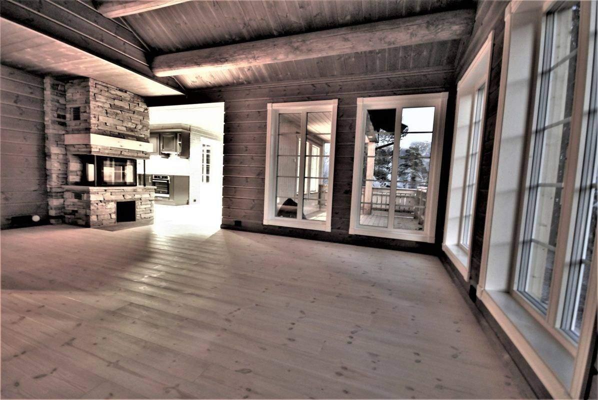 26 Hyttemodell Hytte Stryn 101 Oppdal – Stua mot spisestue og kjøkken