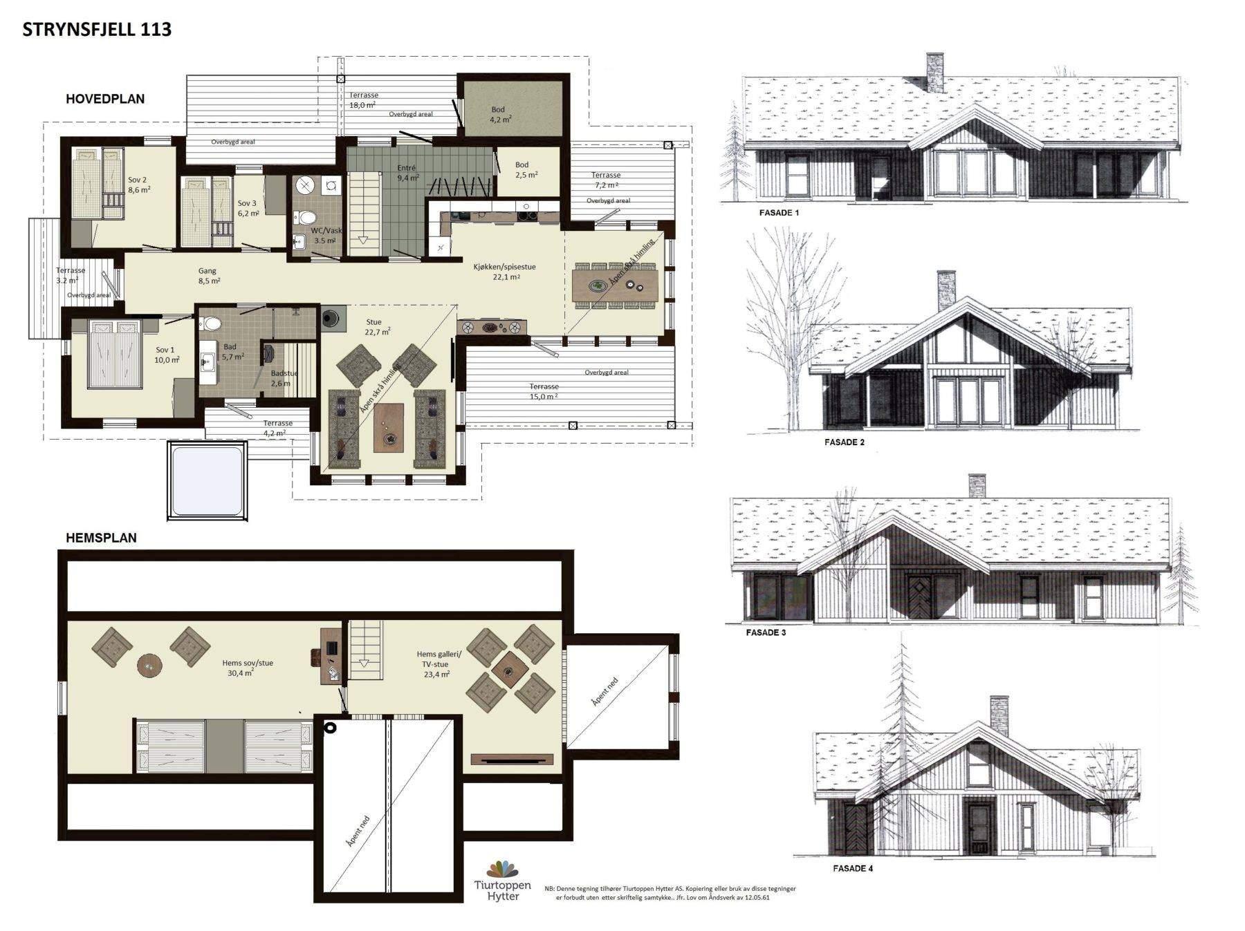 10 Strynsfjell 113 plan og fasader