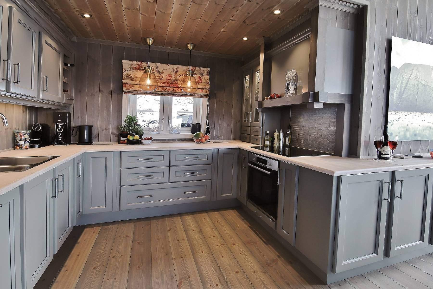 16 Hyttemodell Hytte Strynsfjell 122 Tiurtoppen Hytter. Kjøkkenet.