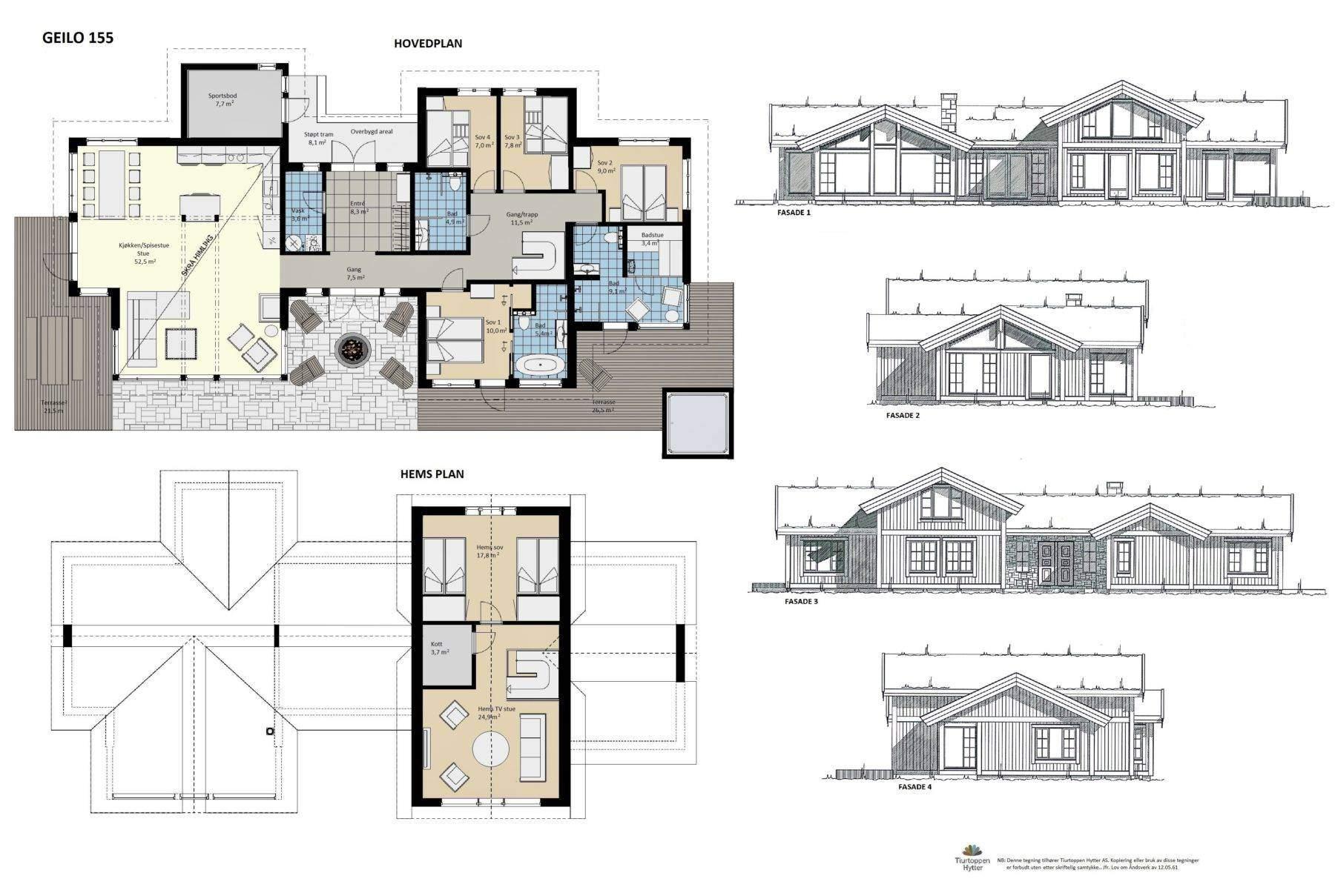 10 Geilo 155 – Plan og fasader