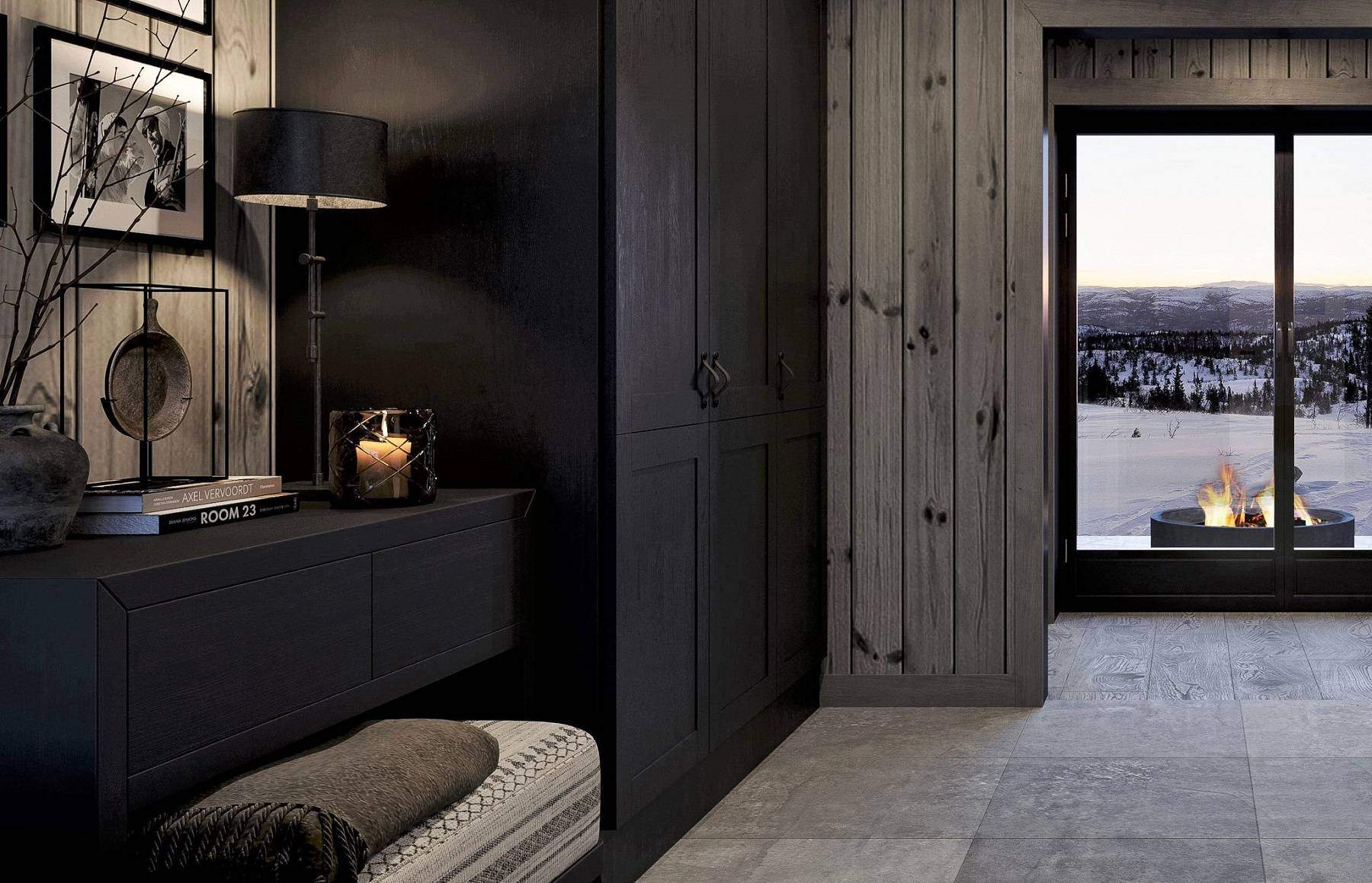 102 Entréen med garderobe og skjenk og sittebenk – Hyttemodell Geilo 155