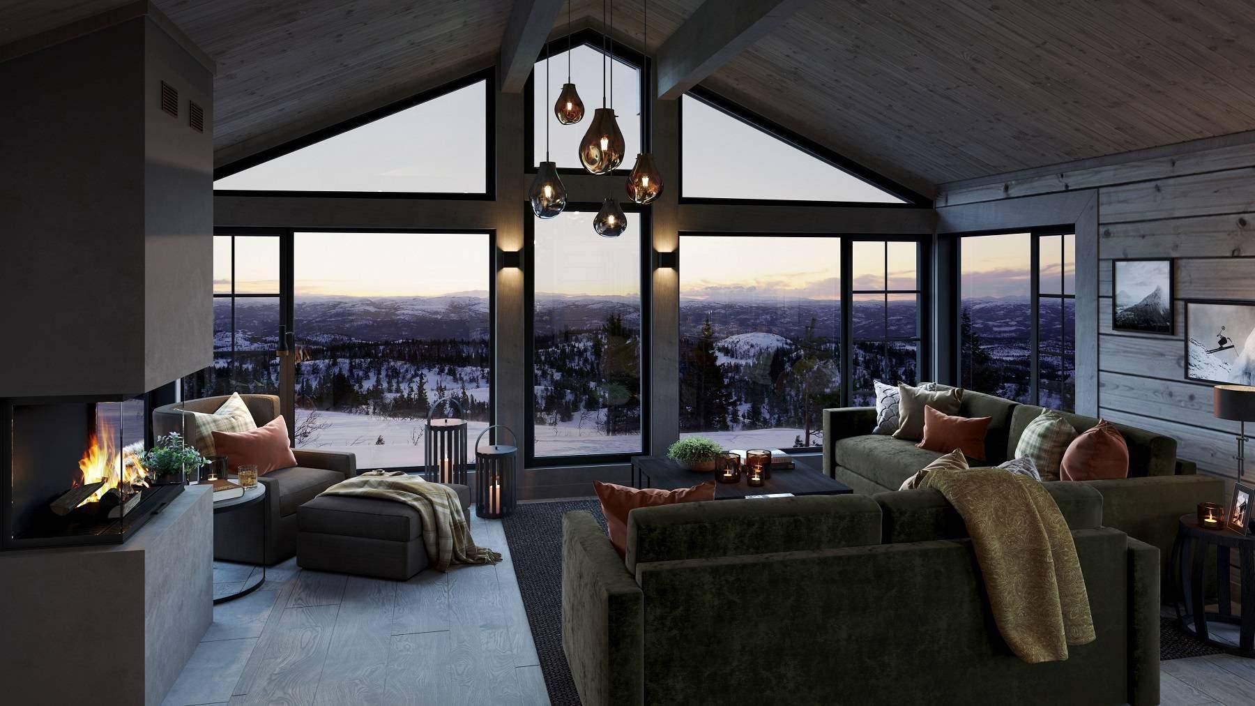 12 Stemningsfull stue mot fjellnaturen og peisilden. Hyttemodell Geilo 155