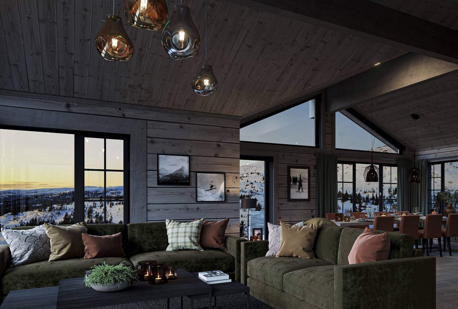 122 Varme dempede farger i hytta i et rustikk miljø. Hyttemodell Geilo 155