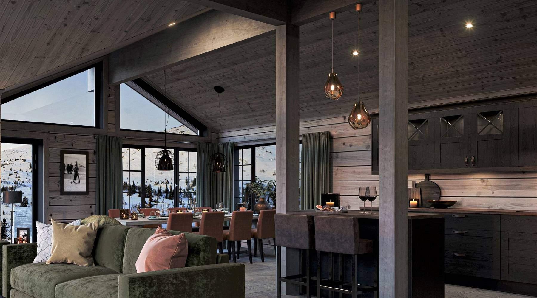 124 Høy takhimling og mye vindusflater. Balkongdør til terrassen på utsiden. Hyttemodell Geilo 155