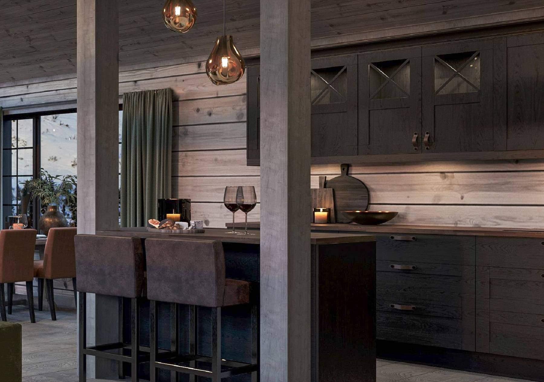 126 Bæresøylene innfelt i kjøkkenøyas benkeplate markerer kjøkkensonen – Hyttemodell Geilo 155
