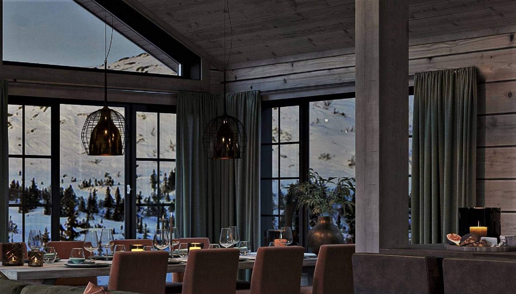 132 Koselige vinduer rundt spiseplassen. – Hyttemodell Geilo 155