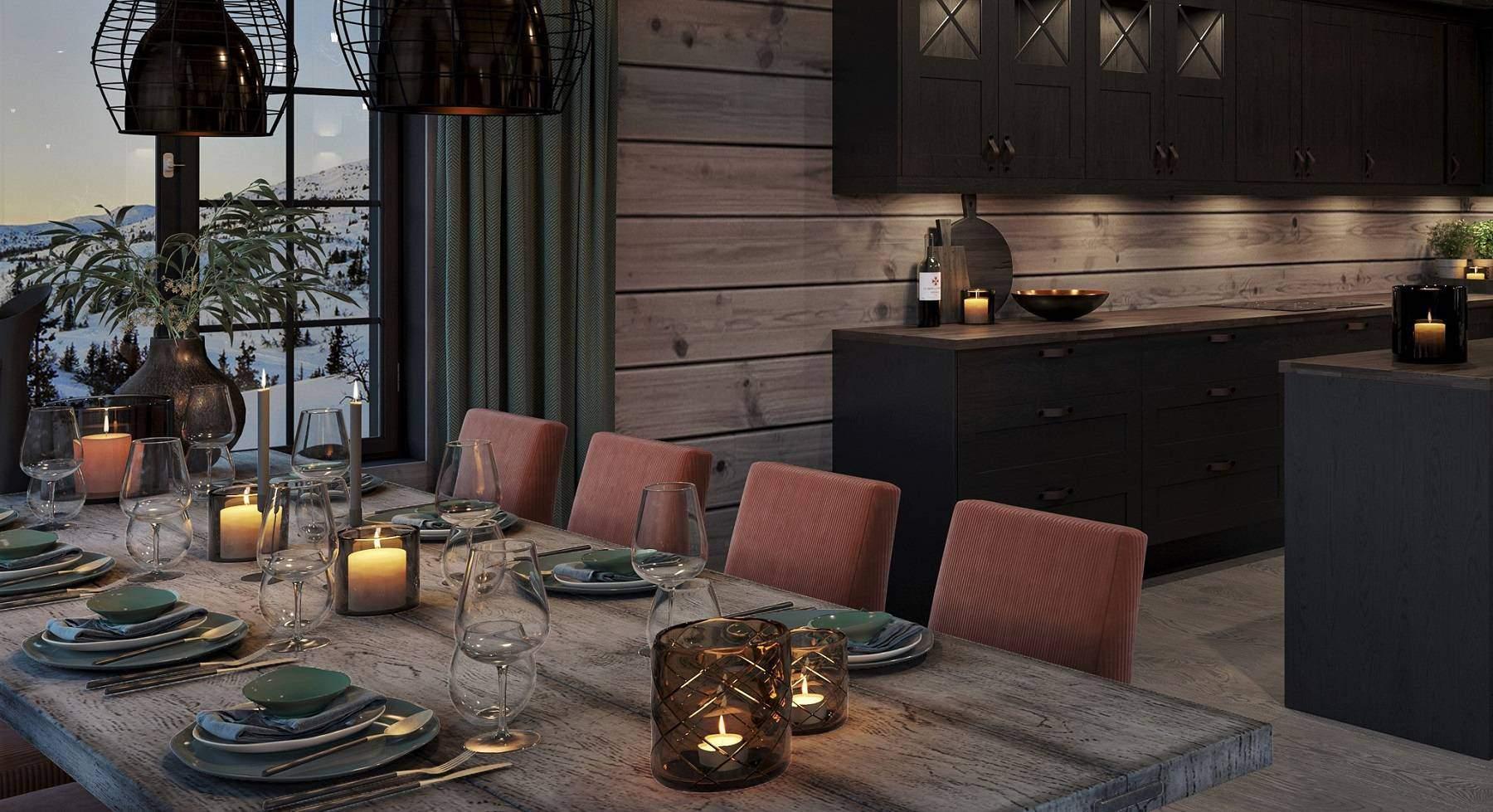 151 Spisebordet dekket i fjellets høstfarger – Hyttemodell Geilo 155