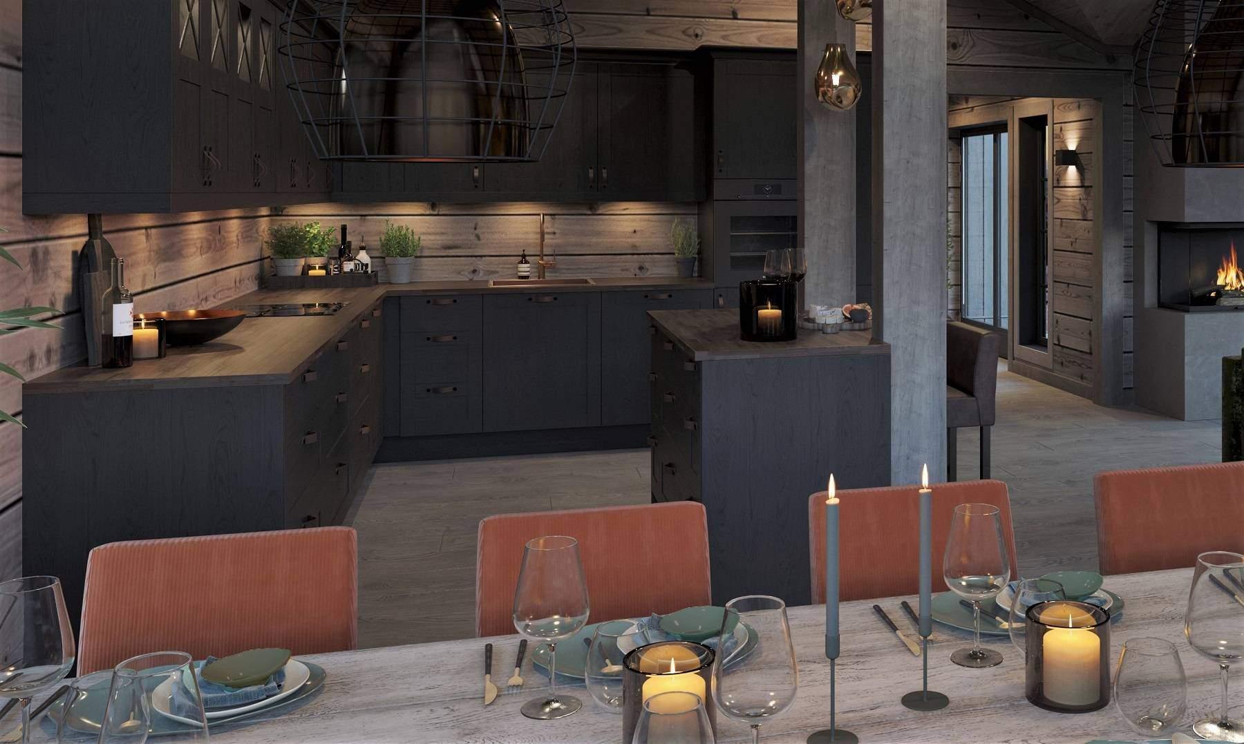 154 Praktisk kjøkken. – Hyttemodell Geilo 155