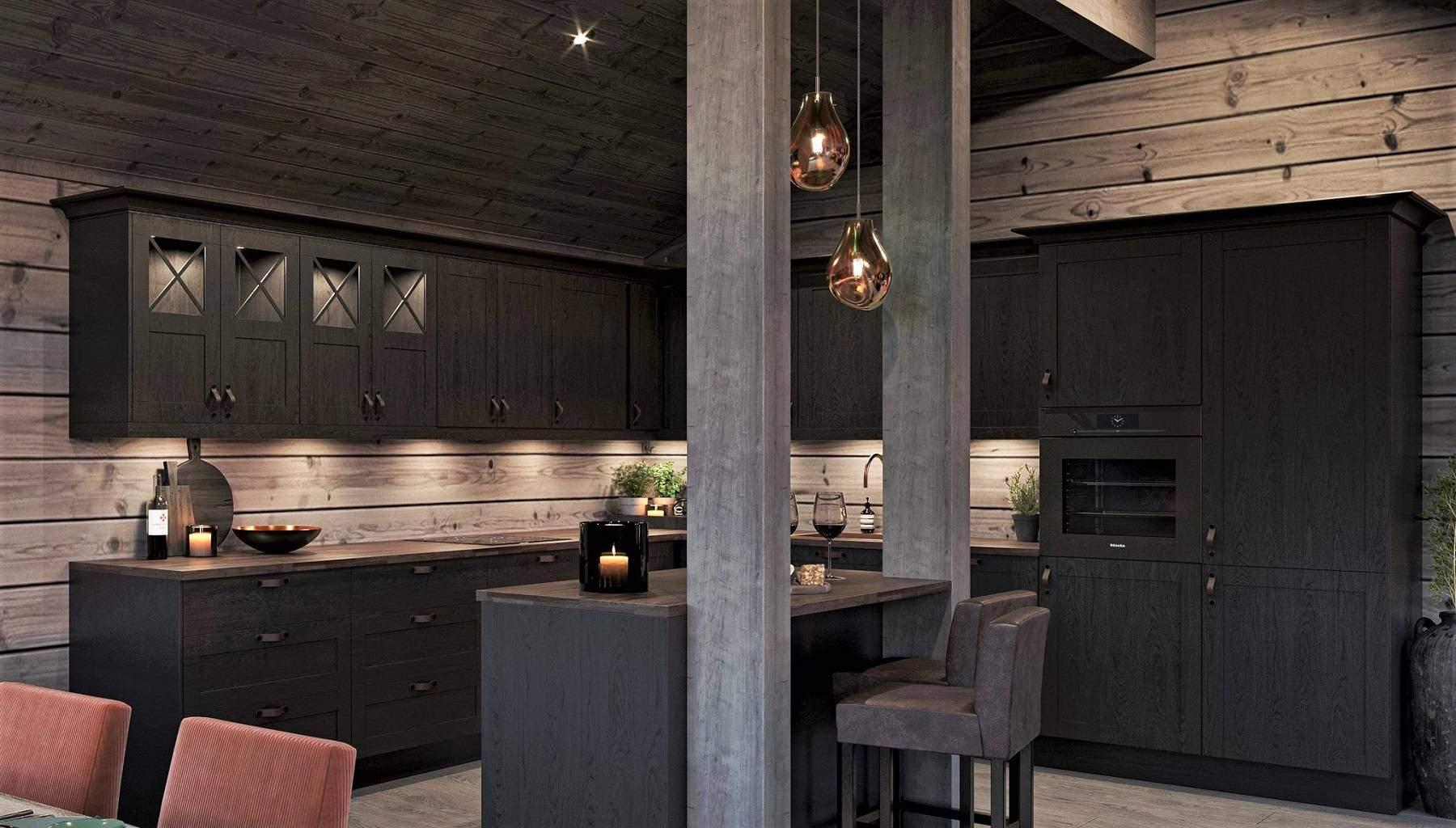 158 Kjøkkenøy med gyldne glasspendler og innredningsdetaljer i skinn – Hyttemodell Geilo 155