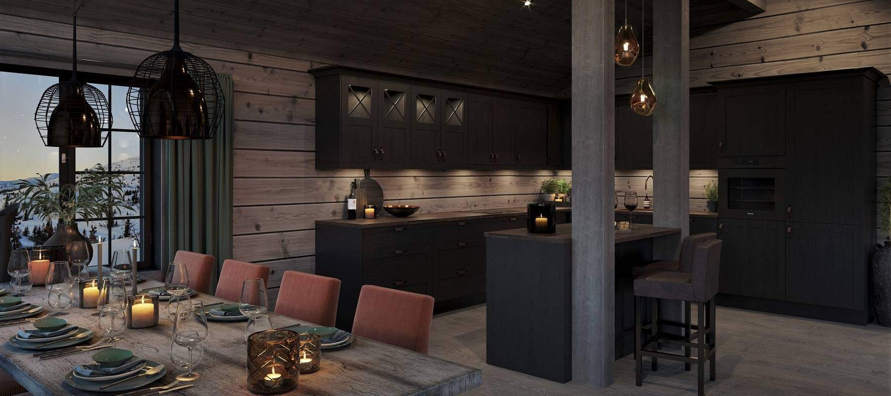 17 Hytte Geilo 155. Sosialt og hyggelig rundt spisbordet og kjøkkenbenken.