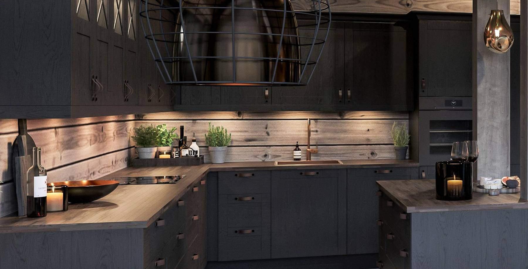175 Varme gyldne fargeinnslag på kjøkkenet. Hyttemodell Geilo 155