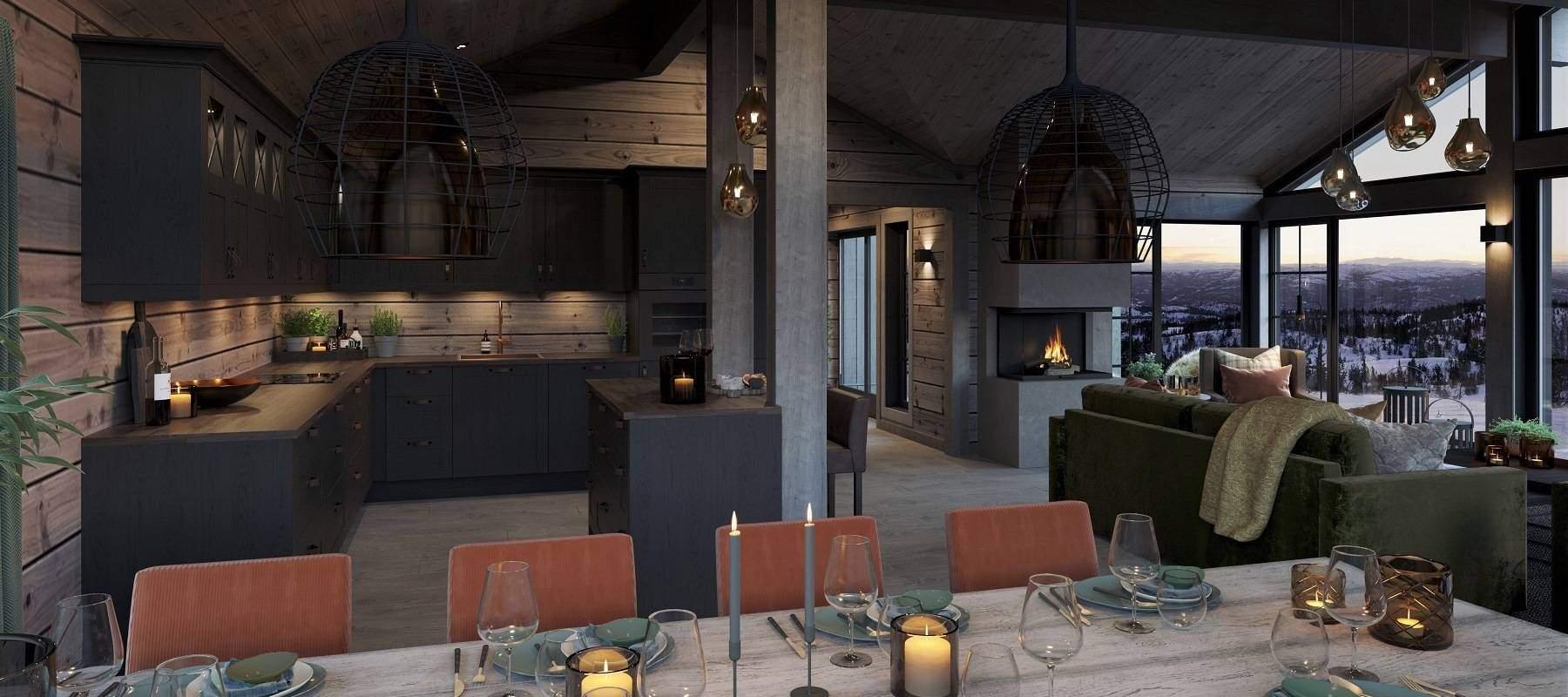 18 Hytte Geilo 155. med spiseplassen plassert med peisilden og stuas panoramavinduer i synsranden.
