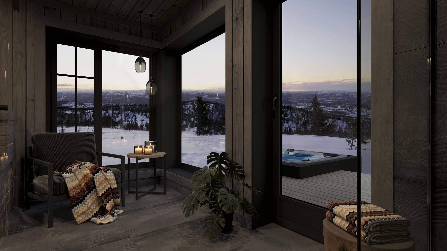 18 Spabadet med relaxavdeling mot fjell landskapet – Hyttemodell Geilo 155