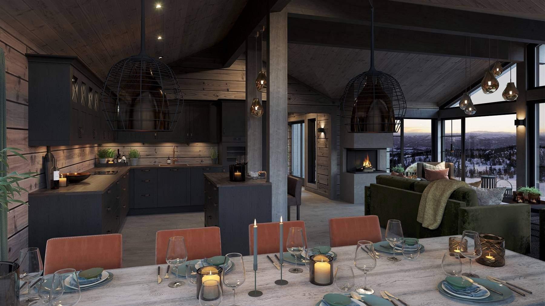181 Fra spiseplassen med åpen synsrand mot peisilden og stuas utsiktsvinduer. Hyttemodell Geilo 155