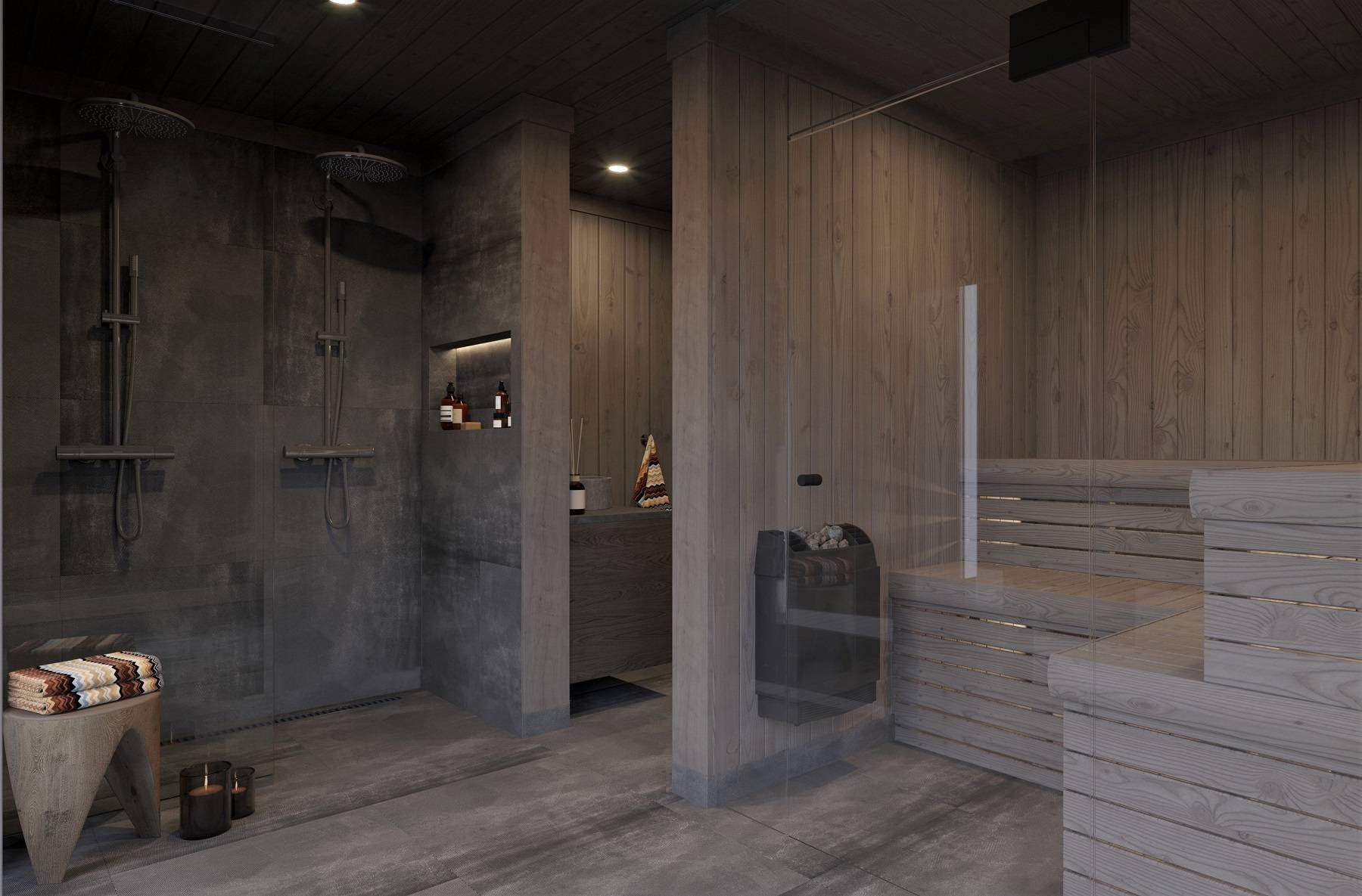 210 Badstua i spabadet med hel glassfront mot utsiktsvinduene – Hyttemodell Geilo 155