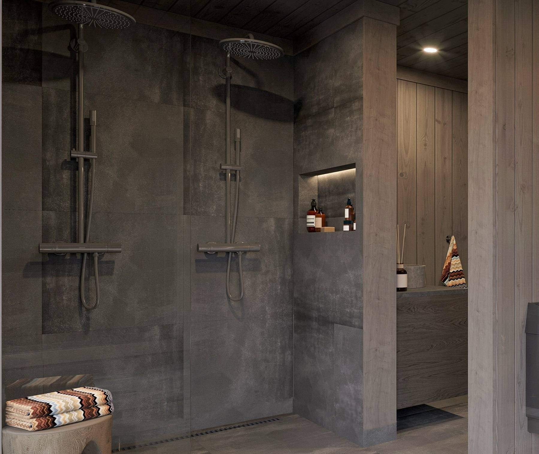 212 Spabadet har dusjone med 2 dusjer. Vaskeservant og klosett i avdelt sone – Hyttemodell Geilo 155