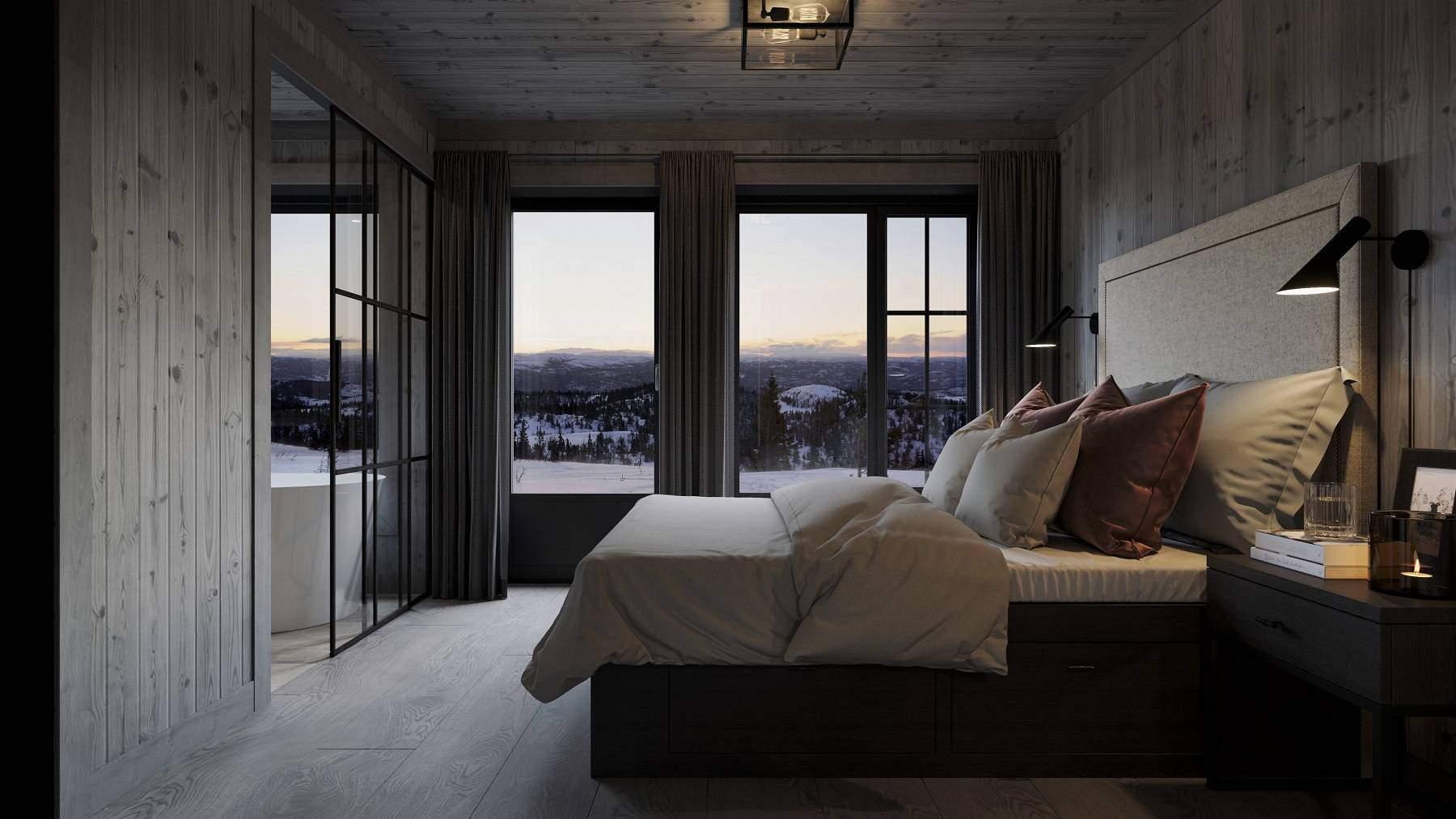 220 Masteravdeling med privat bad med badekar. Her kan man våkne til fjell landskapet. Hyttemodell Geilo 155
