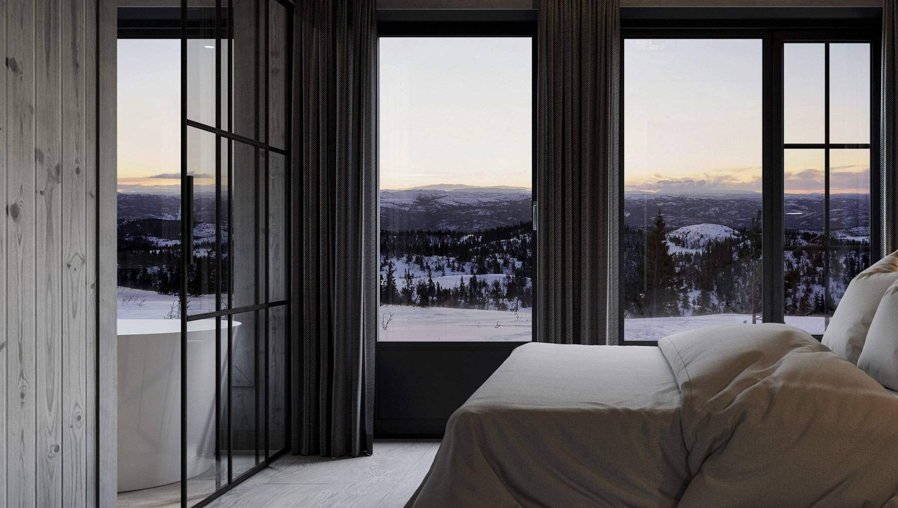 224 Master soverommet har dør ut til terrassene med utendørs bad og bålplassen – Hyttemodell Geilo 155