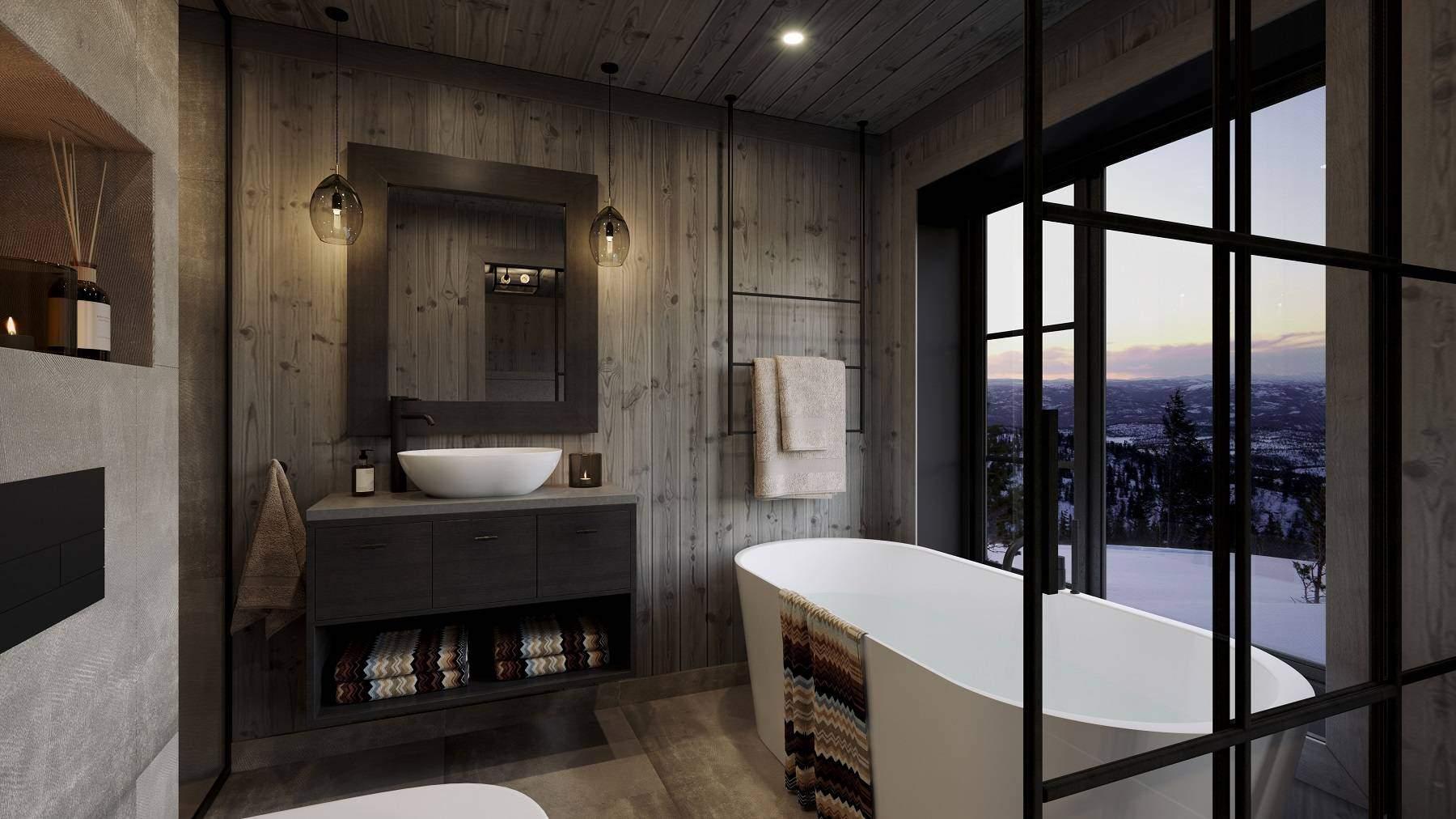 230 Masterbadet med badekar. Dusjnisje til venstre – Hyttemodell Geilo 155