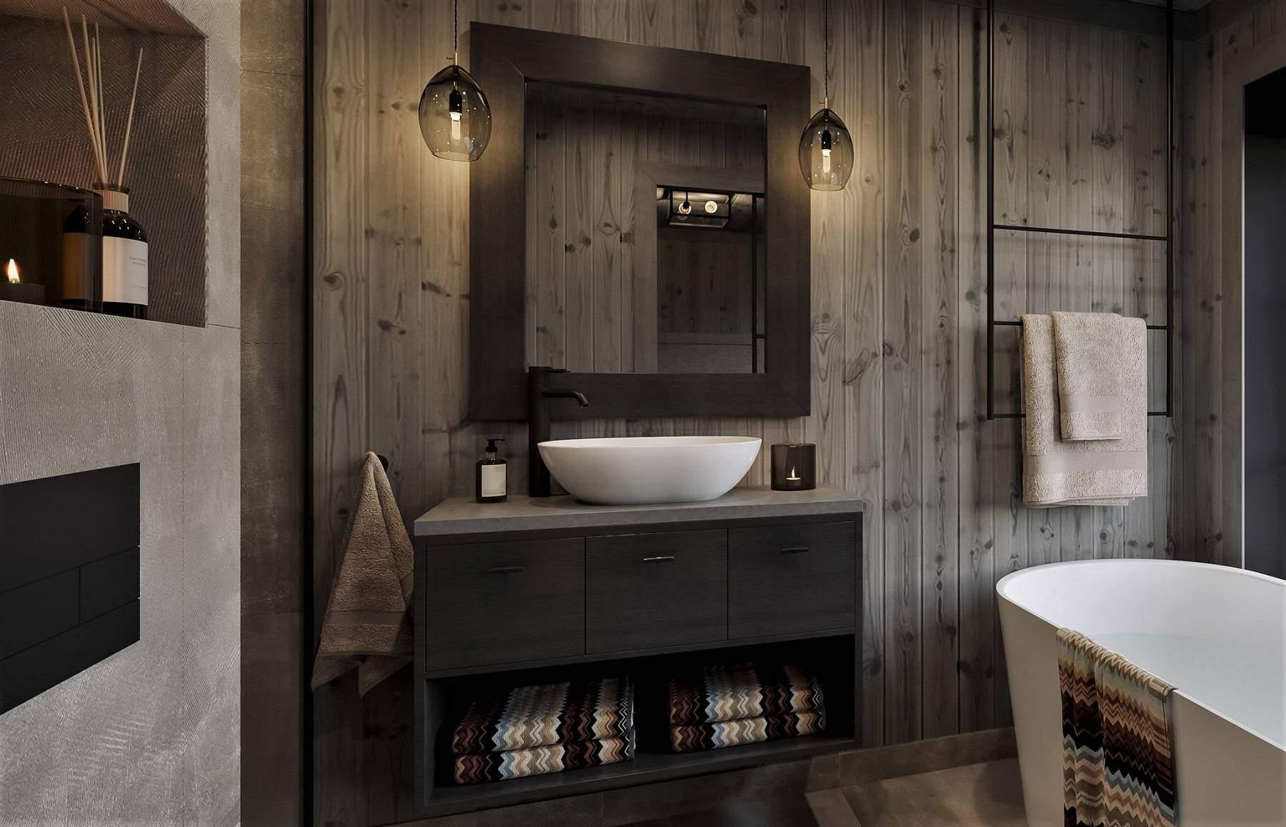 232 Varme farger på badet og spesialprodusert innredning. Hyttemodell Geilo 155
