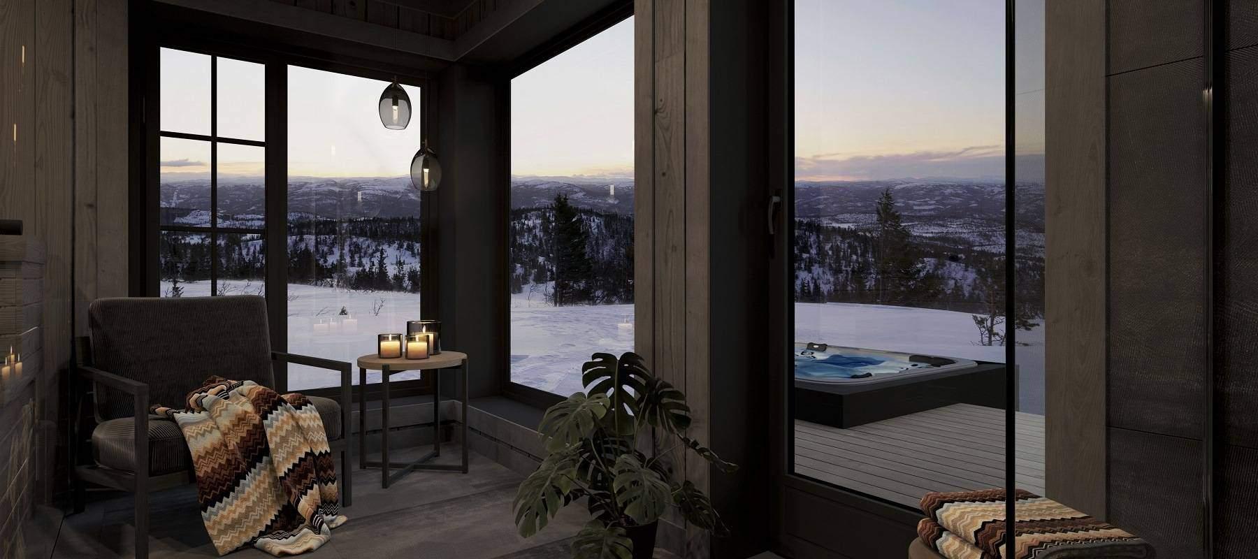 26 Hytte Geilo 155. Spabad plass til avslapping med naturen som skue.