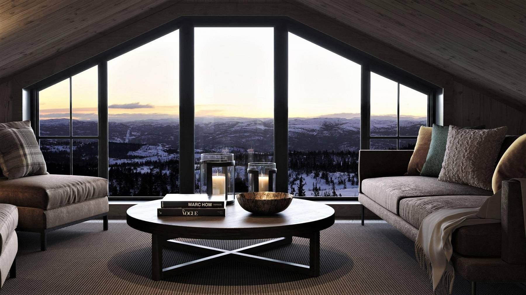 302 Stua på hemsen har panoramautsyn gjennom den brede vindsflaten – Hyttemodell Geilo 155