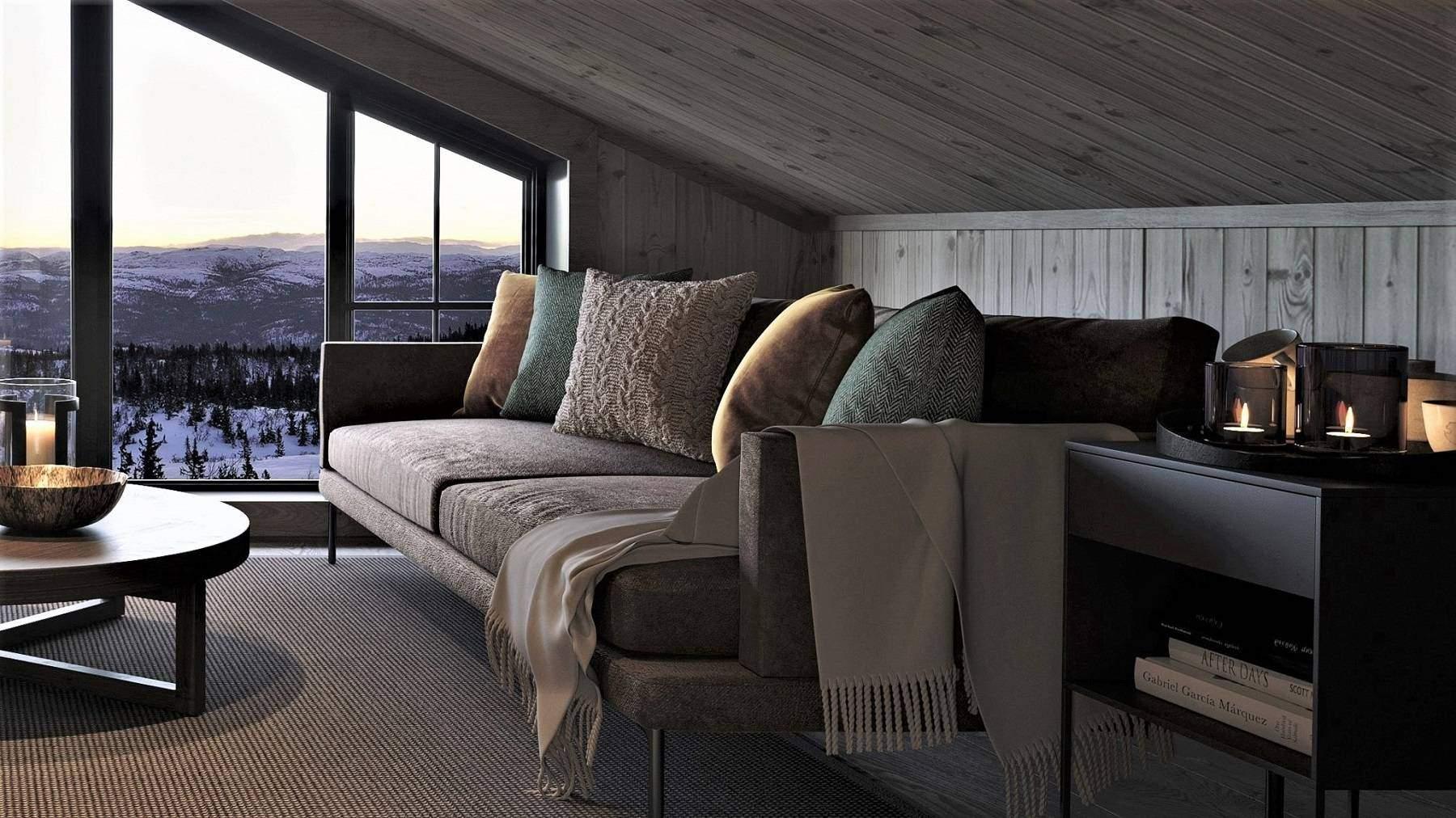 304 Hemsen har knevegger på 90 cm og god plass til sofa – Hyttemodell Geilo 155