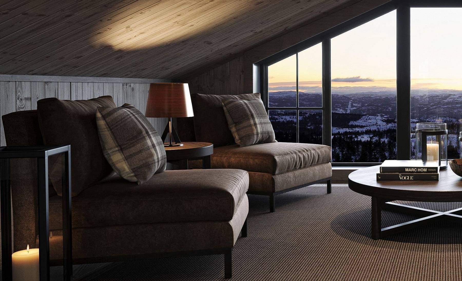 306 Lounge miljø på hemsen. Hyttemodell Geilo 155