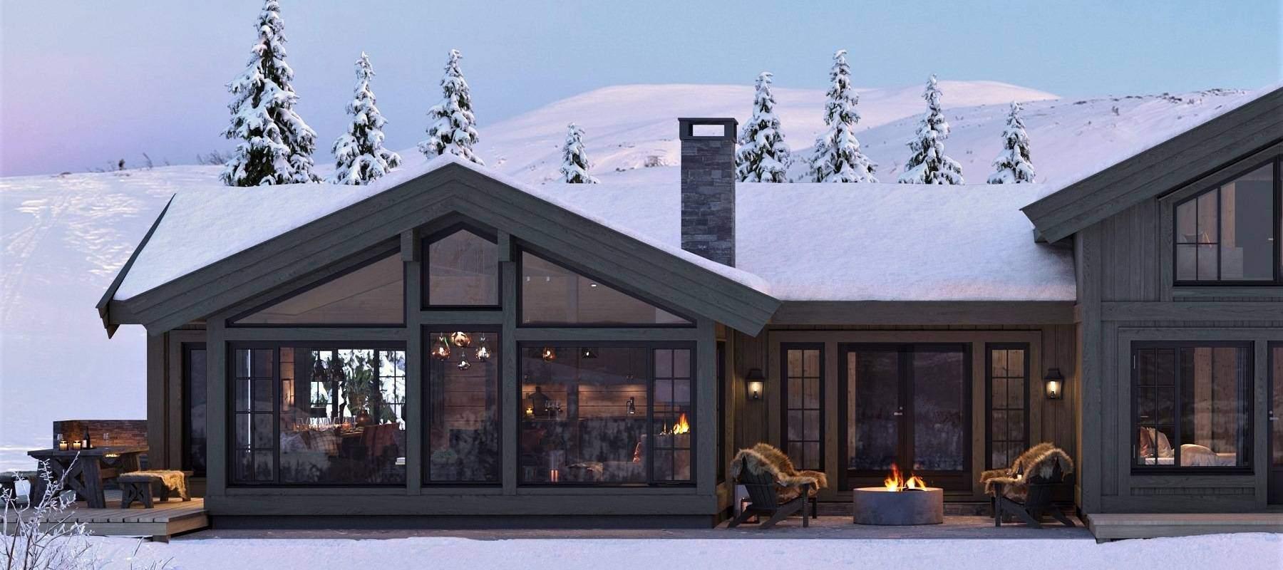 32 Terrasser for målitider og avslapping på hver side av fellesarealet. Hyttemodell Geilo 155