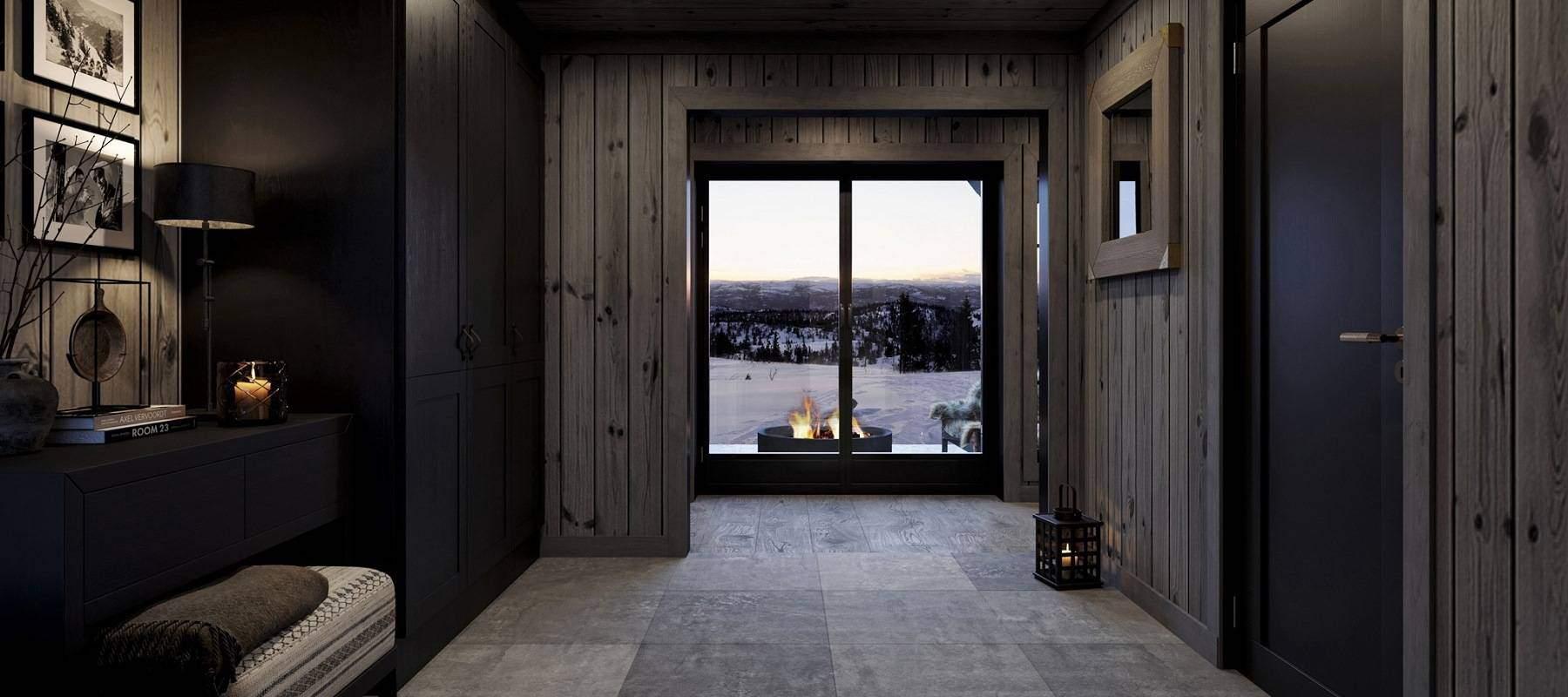 34 Hytte Geilo 155 -Velkomst til hytta med stemningsfulle bålflammer og vinterlandskap i front