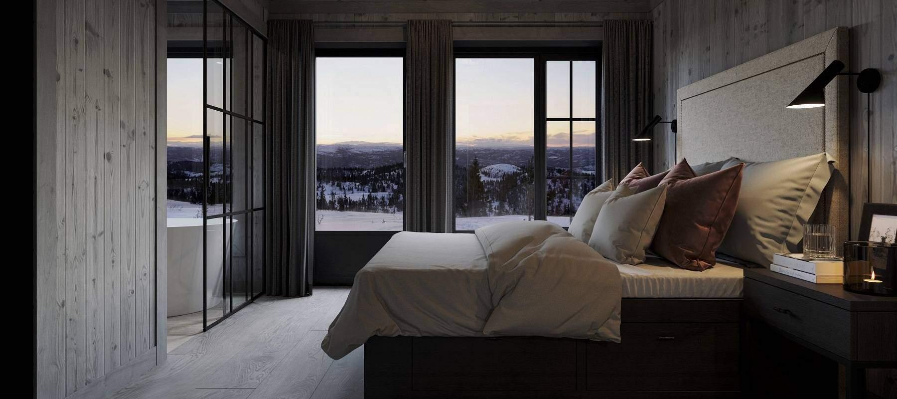40 Hytte Geilo 155. Master soverommet har dør ut til terrassene med utendørs bad og bålplassen