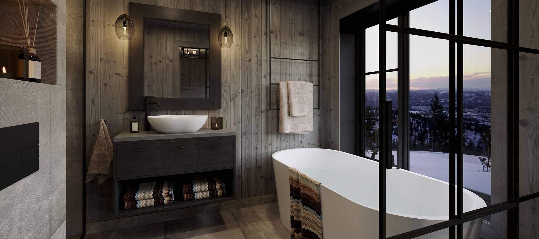 42 Hytte Geilo 155 . Masterbad med badekar og dusjnisje.