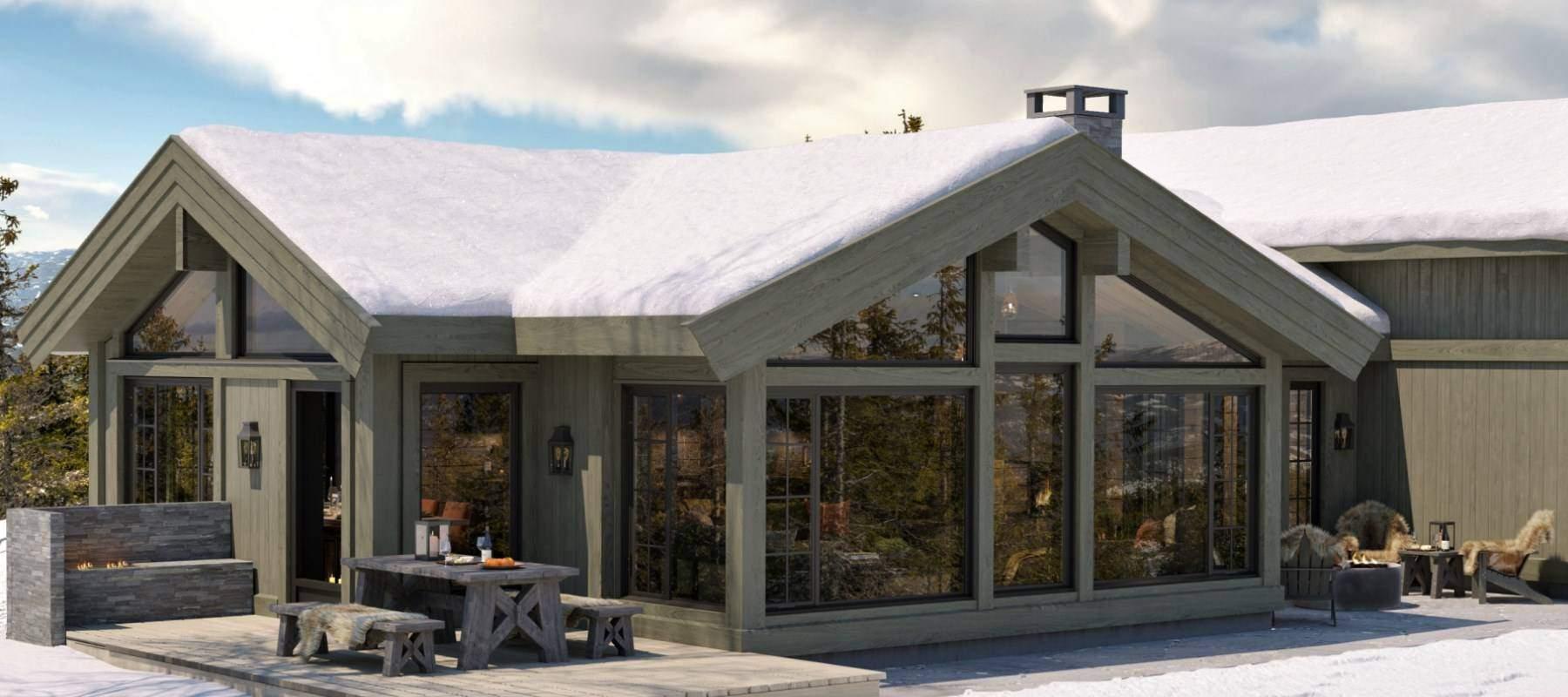 44 Hytte Geilo 155 – Fasade mot stue og spisestue