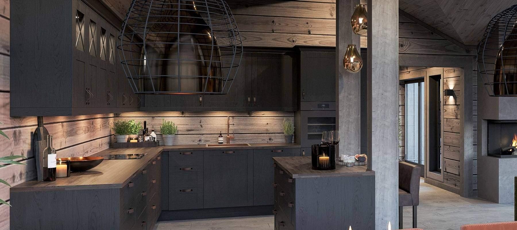 50 Hytte Geilo 155 Åpent kjøkken mot stue og spisestua, Kjøkkenøy med innfelte søyler avgrenser kjøkkensonen.